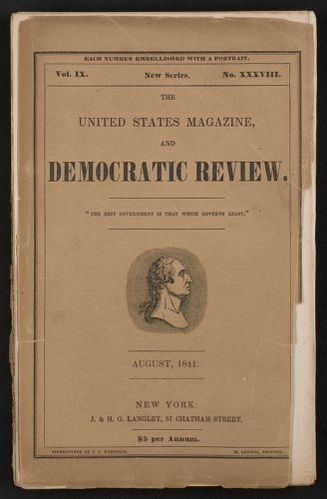 "Walt Whitman Papers in the Charles E. Feinberg Collection: Literary File, 1841-1919; Prose, 1841-1892; 1841; Aug. , ""Death in the School-Room,"" United States Magazine and Democratic Review, printed copy"