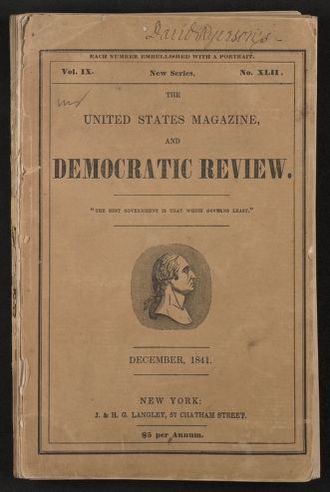 "Walt Whitman Papers in the Charles E. Feinberg Collection: Literary File, 1841-1919; Prose, 1841-1892; 1841; Dec. , ""Bervance,"" United States Magazine and Democratic Review, printed copy"