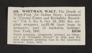 "Walt Whitman Papers in the Charles E. Feinberg Collection: Literary File, 1841-1919; Prose, 1841-1892; 1845; Oct. 18 , ""The Death of Wind-Foot,"" Crystal Fount and Rechabite Recorder, printed copy"