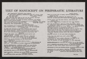 """Walt Whitman Papers in the Charles E. Feinberg Collection: Literary File, 1841-1919; Prose, 1841-1892; circa 1855; """"Literature Is Periphrastic,"""" draft"""