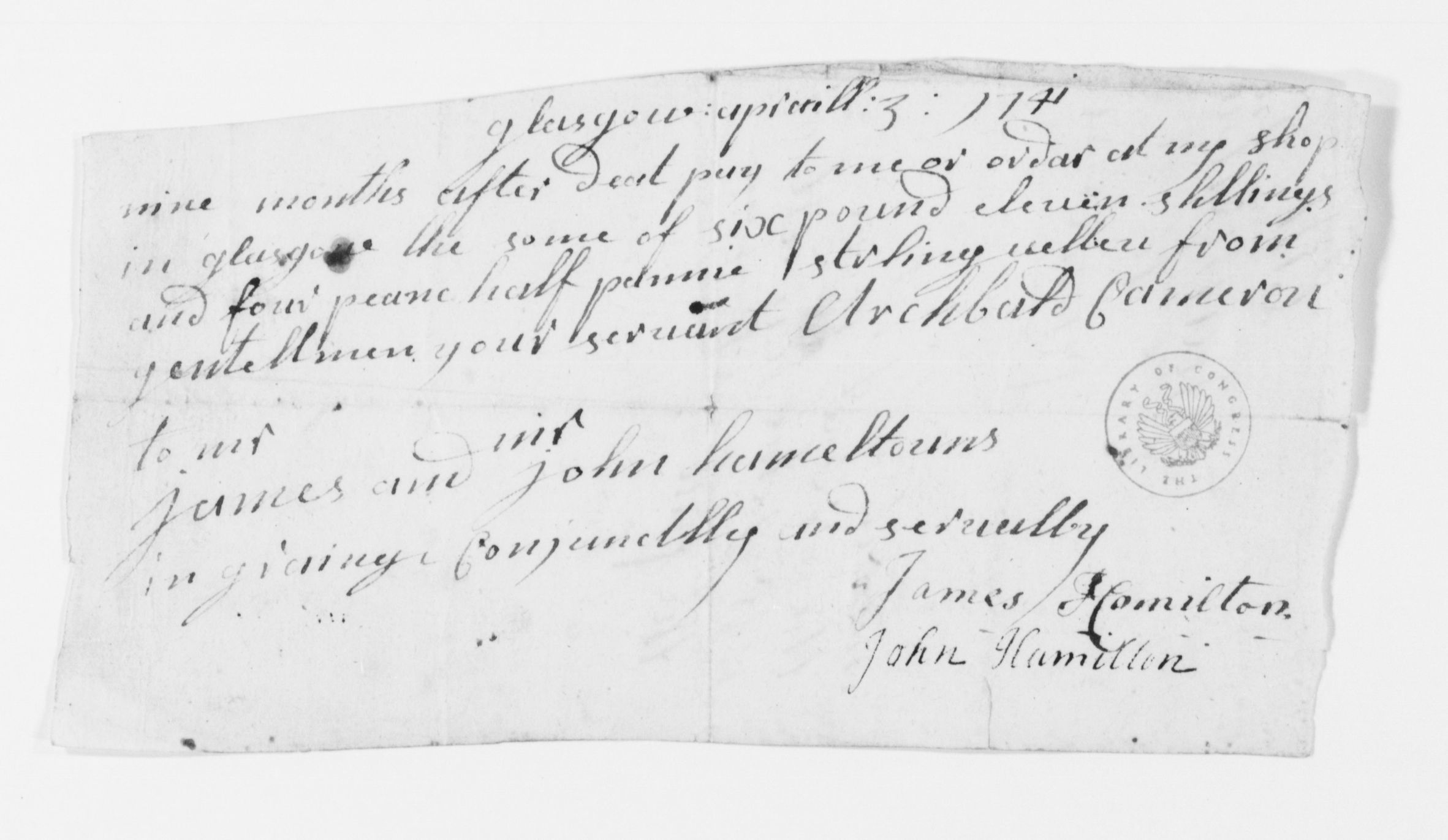 Image 9 of Alexander Hamilton Papers: Family Papers, 1737