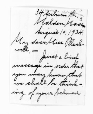 National American Woman Suffrage Association Records: General Correspondence, 1839-1961; Adadourian, Honora A.