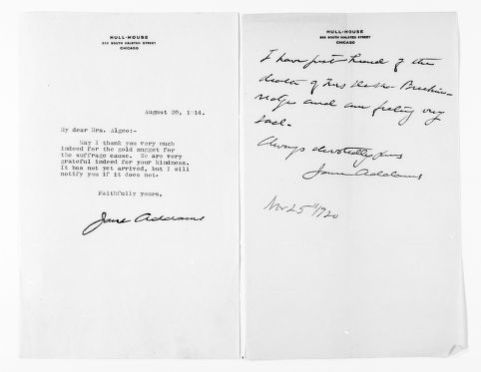 National American Woman Suffrage Association Records: General Correspondence, 1839-1961; Addams, Jane