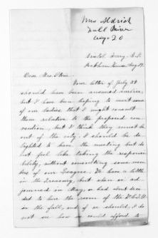National American Woman Suffrage Association Records: General Correspondence, 1839-1961; Aldrich, Louisa G.