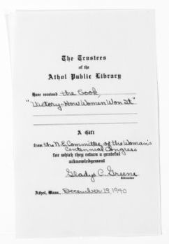 National American Woman Suffrage Association Records: General Correspondence, 1839-1961; Athol Public Library, Athol, Mass.
