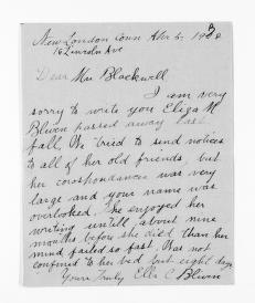 National American Woman Suffrage Association Records: General Correspondence, 1839-1961; Bliven, Ella C.