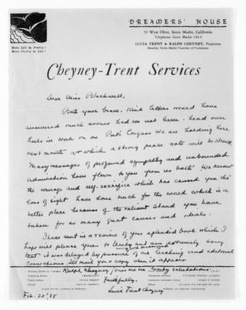 National American Woman Suffrage Association Records: General Correspondence, 1839-1961; Cheyney, Lucia Trent