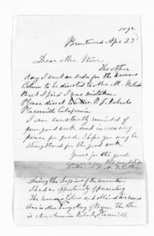 National American Woman Suffrage Association Records: General Correspondence, 1839-1961; Cutler, Hannah M. Tracy