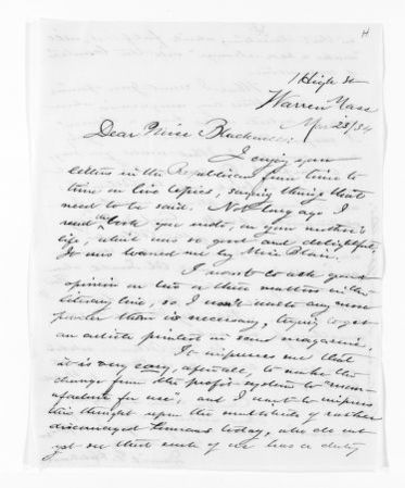National American Woman Suffrage Association Records: General Correspondence, 1839-1961; Hitchcock, Daniel G.