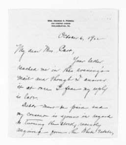 National American Woman Suffrage Association Records: General Correspondence, 1839-1961; Piersol, Florence L.