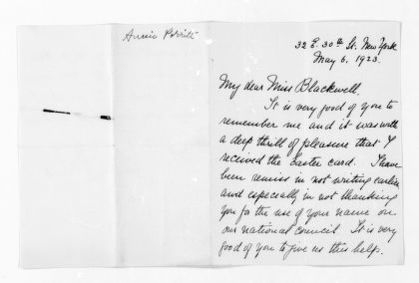 National American Woman Suffrage Association Records: General Correspondence, 1839-1961; Porritt, Annie G.