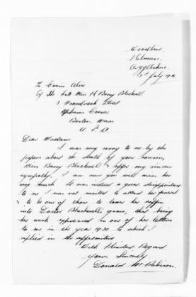 National American Woman Suffrage Association Records: General Correspondence, 1839-1961; Robinson, Donald M.