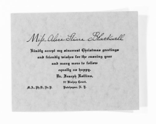 National American Woman Suffrage Association Records: General Correspondence, 1839-1961; Rollins, Joseph