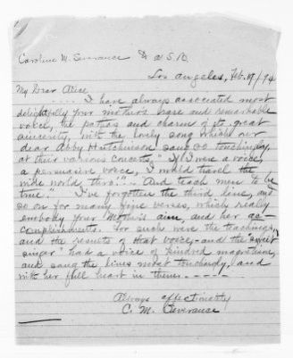 National American Woman Suffrage Association Records: General Correspondence, 1839-1961; Severance, Caroline M.