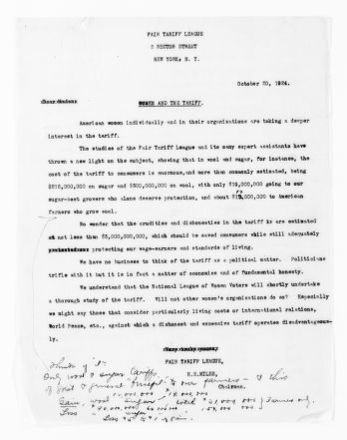 National American Woman Suffrage Association Records: Subject File, 1851-1953; Fair Tariff League