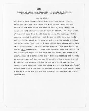 National American Woman Suffrage Association Records: Subject File, 1851-1953; Foster, Abby Kelley