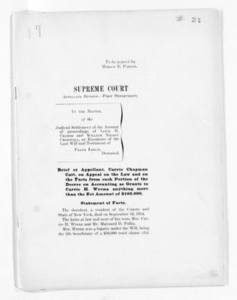 National American Woman Suffrage Association Records: Subject File, 1851-1953; Leslie Woman Suffrage Commission; Litigation; 18 of 20