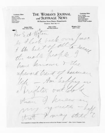 National American Woman Suffrage Association Records: Subject File, 1851-1953; Livermore, Mary Ashton Rice