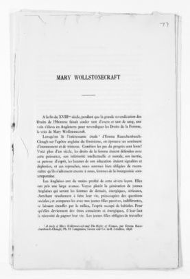 National American Woman Suffrage Association Records: Subject File, 1851-1953; Wollstonecraft, Mary