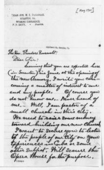 Theodore Roosevelt Papers: Series 1: Letters and Related Material, 1759-1919; 1901, May-June 21