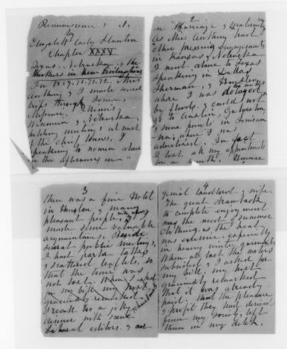 Elizabeth Cady Stanton Papers: Speeches and Writings, 1848-1902; Books; Reminiscences, handwritten drafts of chapters; Nos. 35