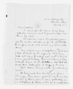 Mary Church Terrell Papers: Family Correspondence, 1890-1955; Phyllis Terrell Goines Parks Langston (daughter); 1913-1935