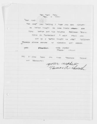 Mary Church Terrell Papers: Family Correspondence, 1890-1955; Thomas A. Church (nephew), 1935-1952, undated