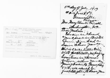 Mary Church Terrell Papers: Correspondence, 1886-1954; 1917, July-Dec., undated
