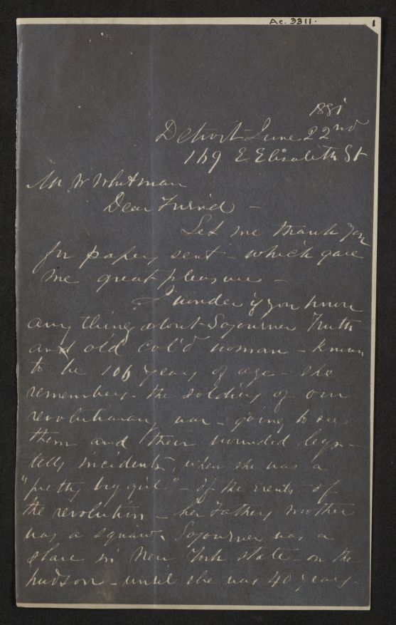 Walt Whitman Papers: Reproductions; Photocopies; Correspondence, 1880-1881, undated