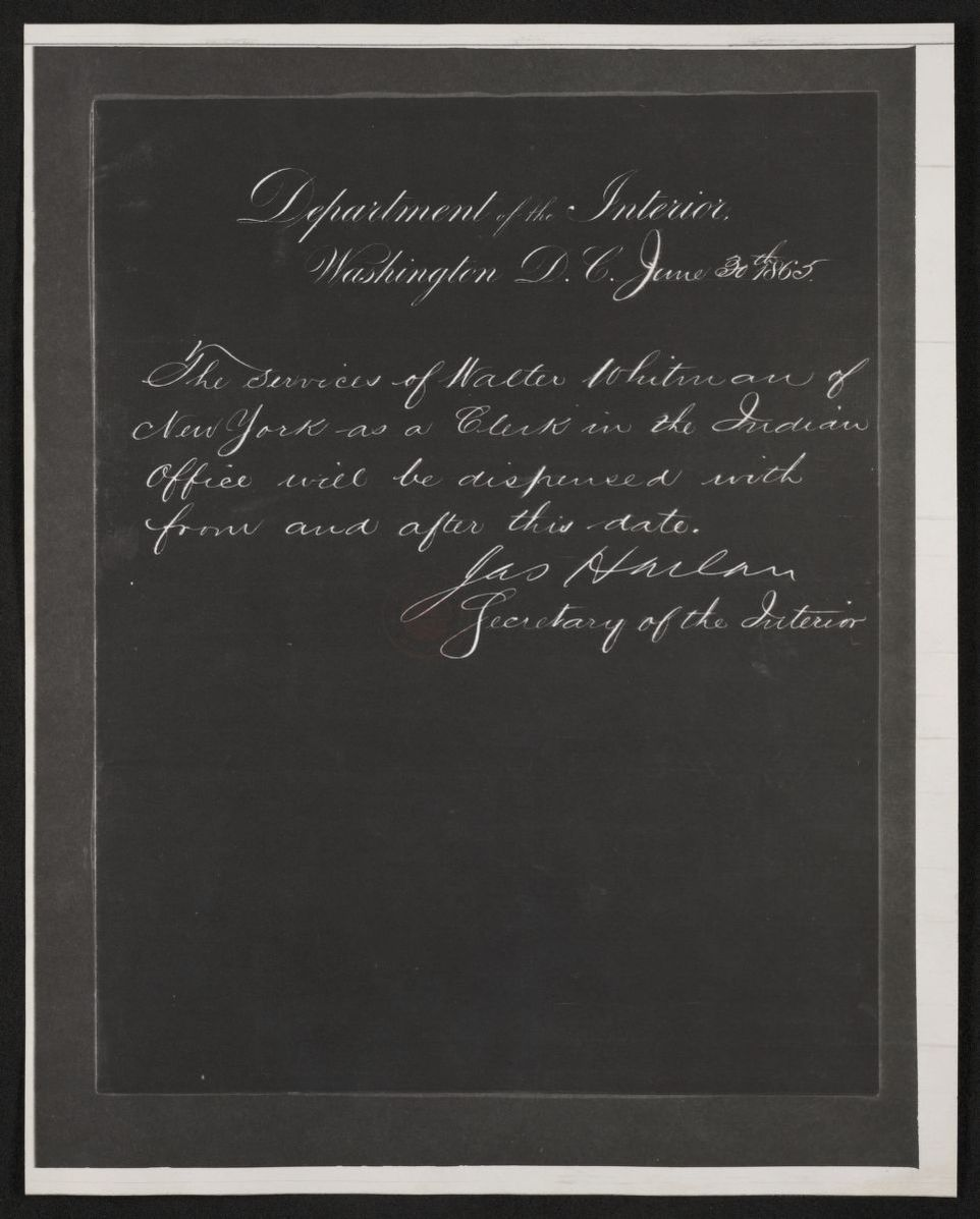 Walt Whitman Papers: Reproductions; Photocopies; Interior Department, dismissal from, 1865