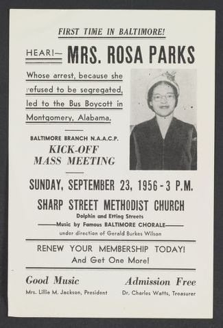 Rosa Parks Papers: Events, 1951-2005; Featuring or honoring Parks; 1956-1959. Prints and Photographs Division.