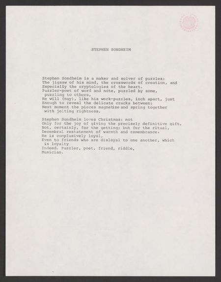 acrostic poem for Stephen Sondheim], 1958 ca  | Library of Congress