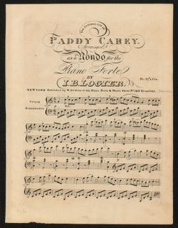 The  admired air of Paddy Carey arranged as a rondo for the piano forte