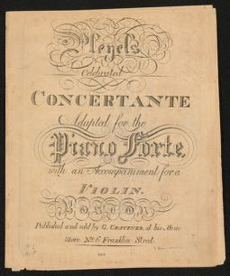 Pleyel's celebrated concertante adapted for the piano forte with an acompaniment for a violin