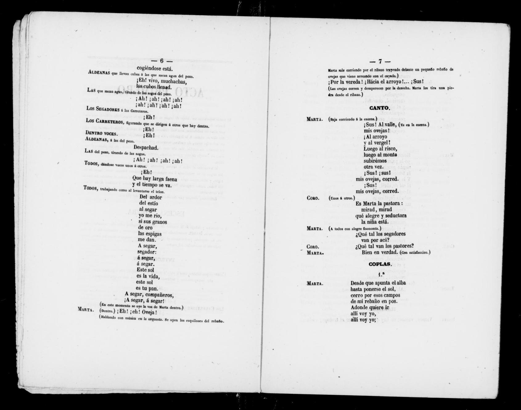 Albert Schatz Collection, Marta, Magyares  Libretto  Spanish