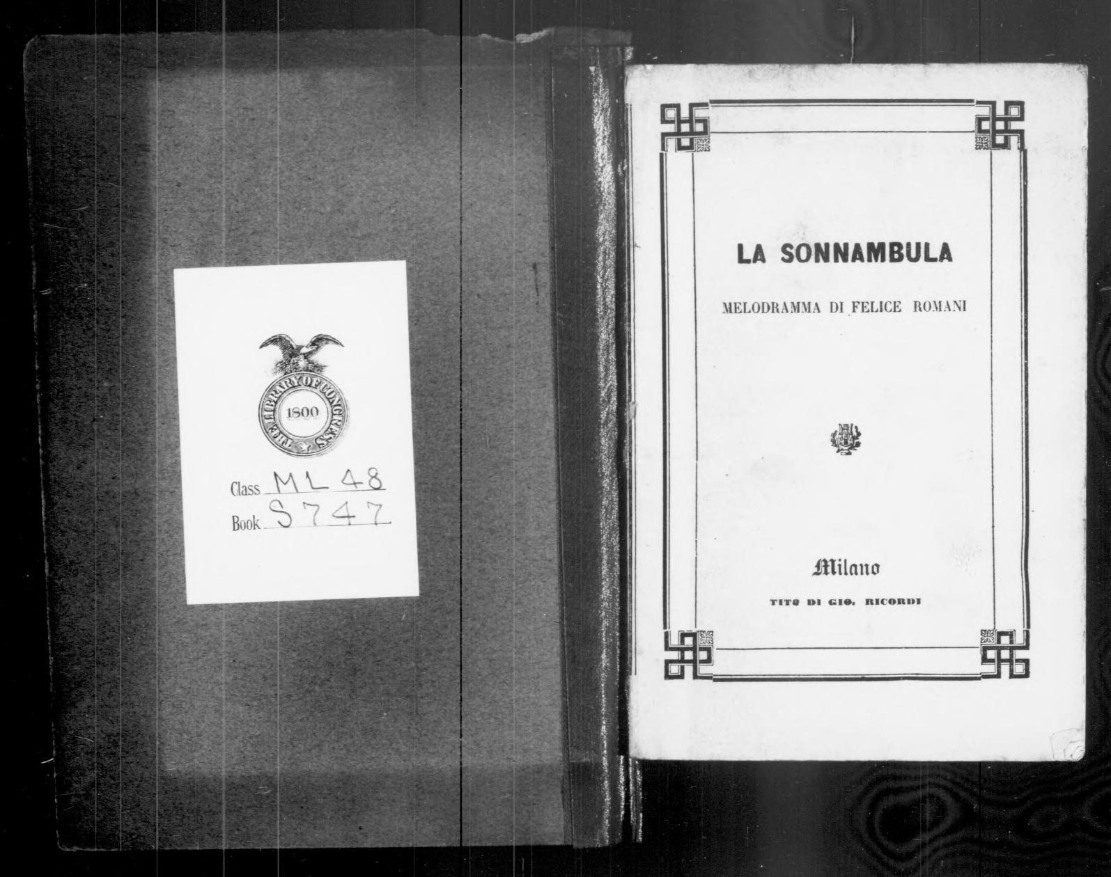 197 Piermarini Design Roma image 2 of la sonnambula : melodramma | library of congress