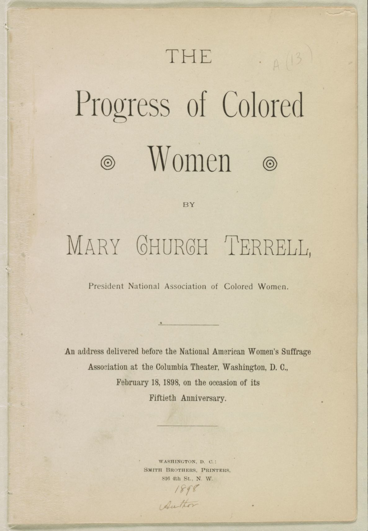 The progress of colored women | Library of Congress