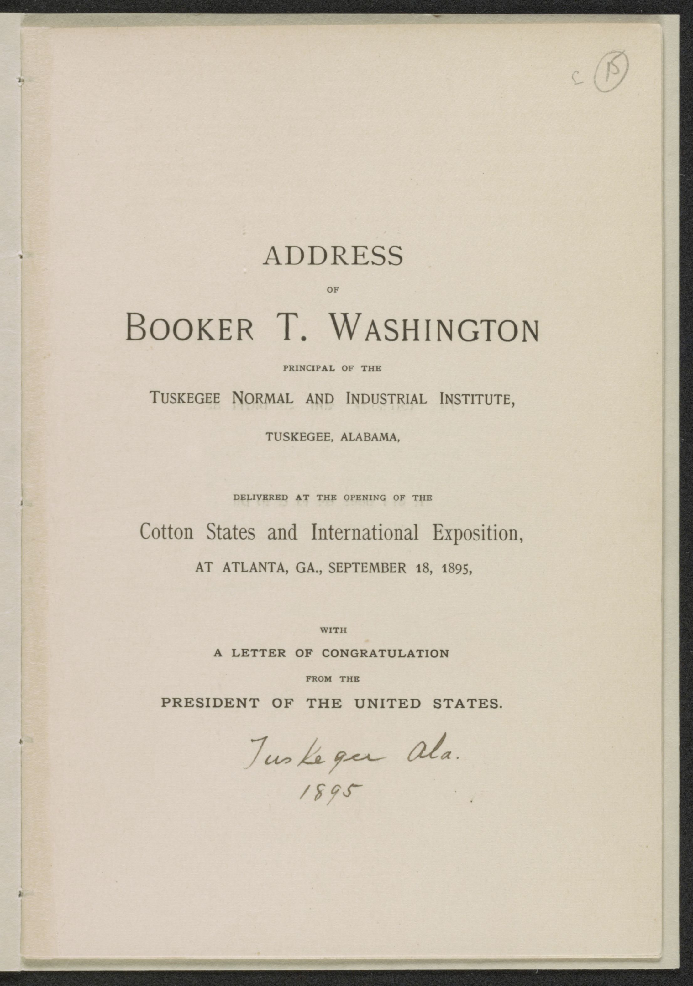 Image  Of Address Of Booker T Washington Principal Of The