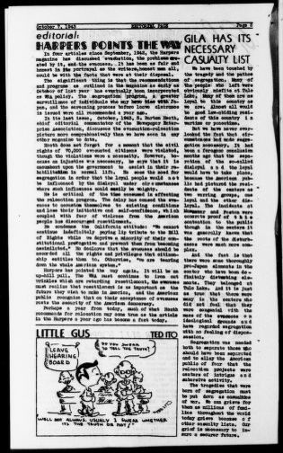 Newspaper Gila News Courier Rivers Arizona October 7 1943