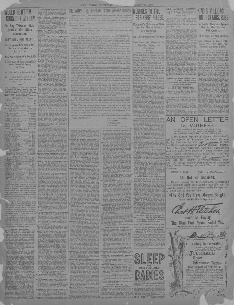 Image 4 Of New York Journal And Advertiser New York N Y August 6 1897 Library Of Congress