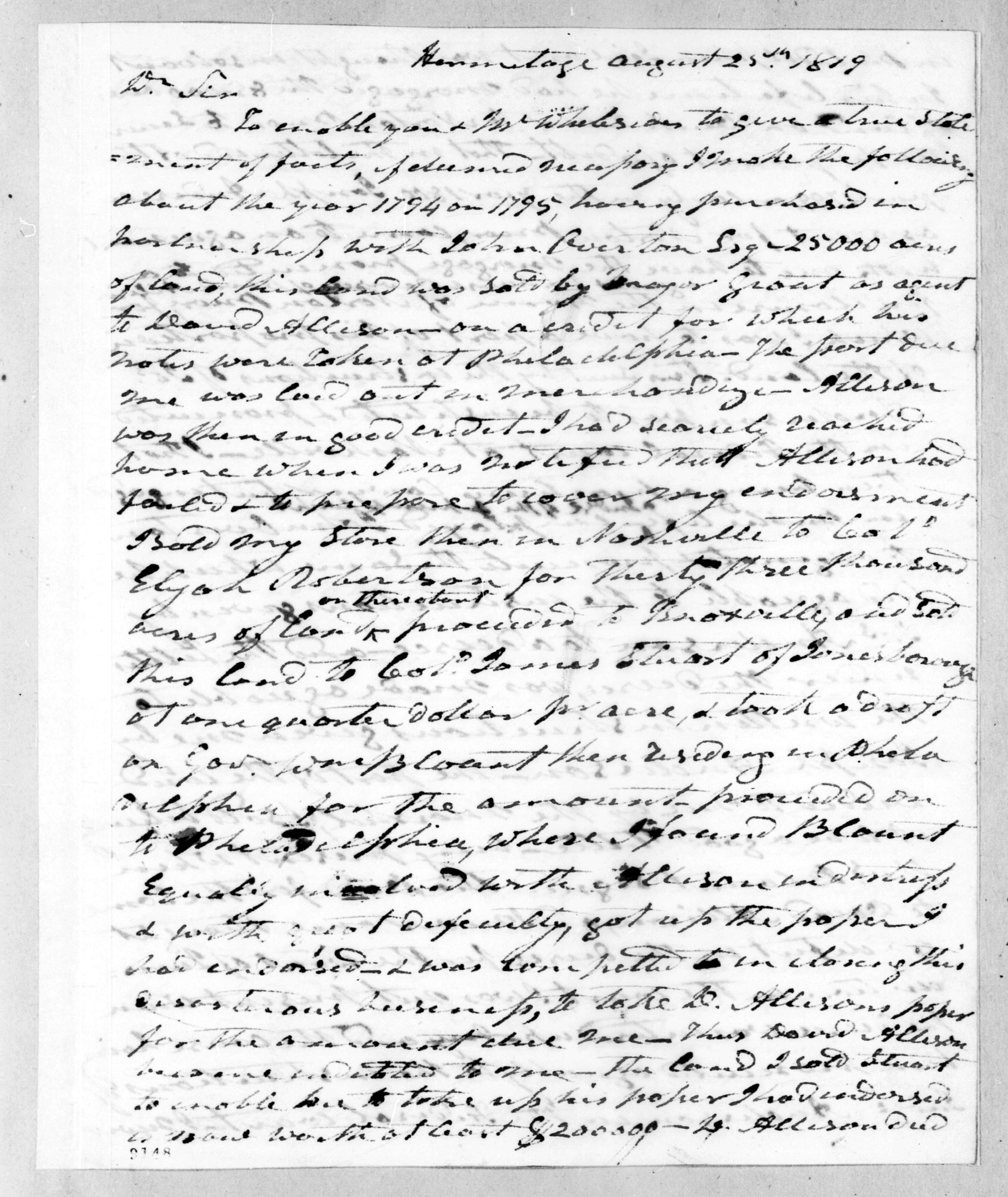 Andrew Jackson to James Jackson, August 25, 1819