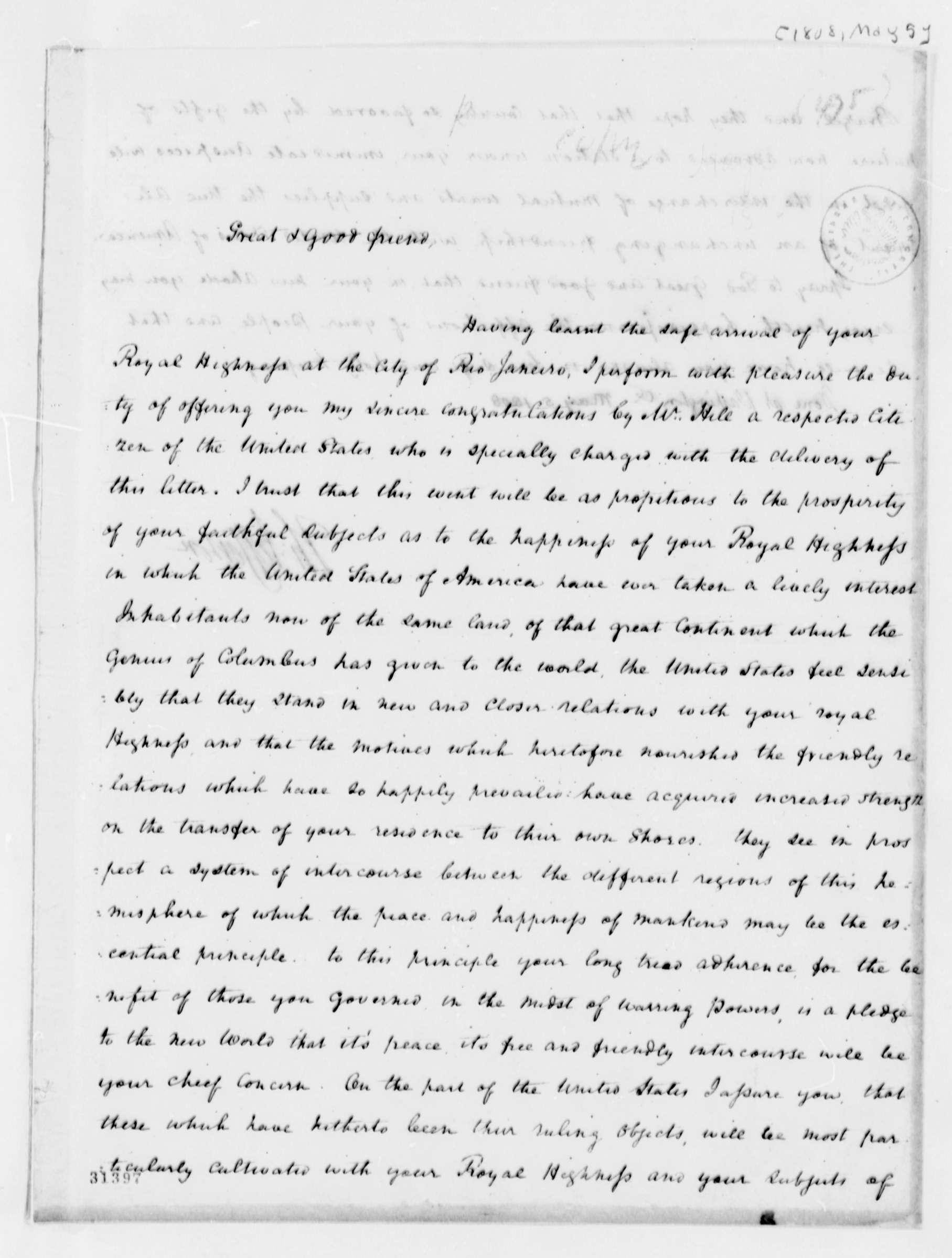 Letter of President Thomas Jefferson to King John of Portugal
