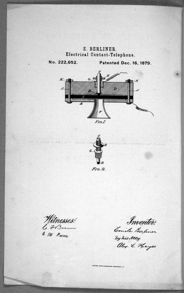 Improvement in electrical-contact telephones : specifications forming part of Letter Patent no. 222,652 dated December, 1879, application filed August 11, 1879