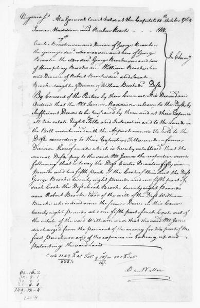 Virginia General Court to James Madison, Sr., October 10, 1764. Chancery Court Decree.