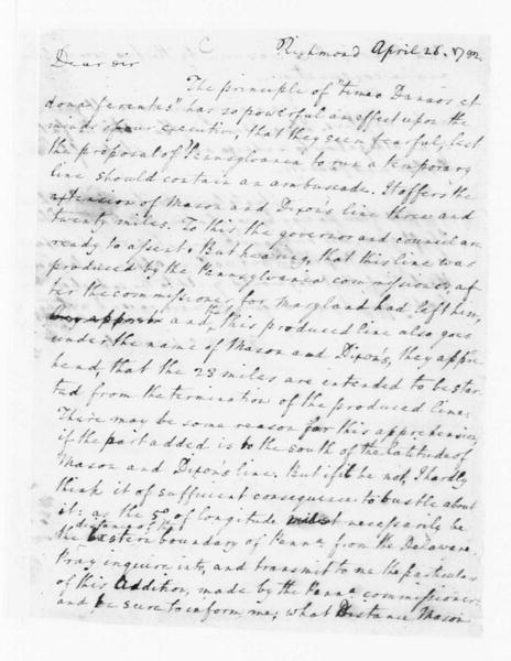 Edmund Randolph to James Madison, April 26, 1782.
