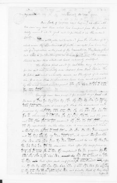 James Madison to Edmund Randolph, October 29, 1782. Partly in Cipher.