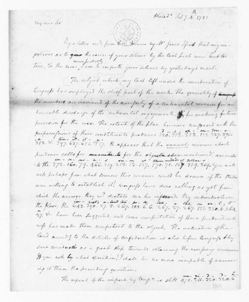 James Madison to Edmund Randolph, February 4, 1783. Partly in Cipher.