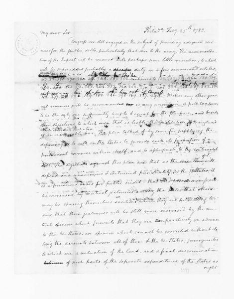 James Madison to Edmund Randolph, February 25, 1783. Partly in Cipher.