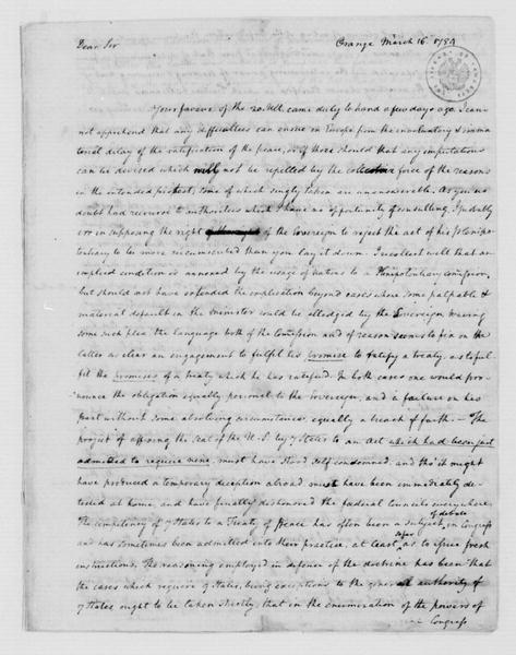 James Madison to Thomas Jefferson, March 16, 1784. Partly in Cipher.