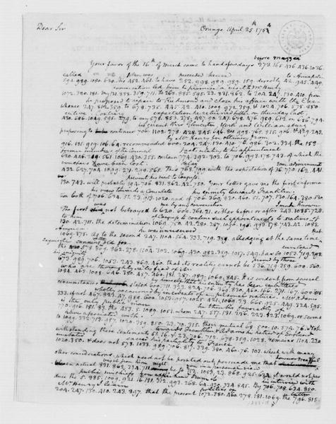Thomas Jefferson to James Madison, April 25, 1784. Partly in Cipher.